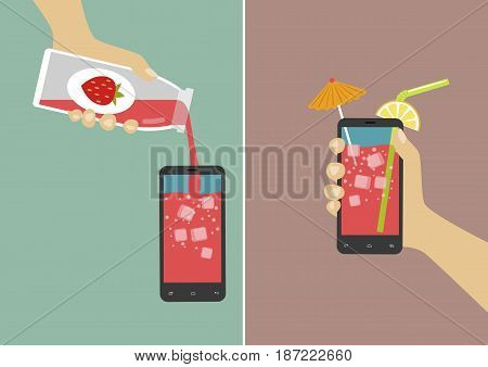 Hand pours juice into a smartphone and holding it with ice cubes, umbrella and stick. Flat vector illustration