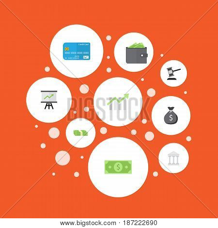 Flat Billfold, Growing Chart, Bar Diagram And Other Vector Elements. Set Of Business Flat Symbols Also Includes Cash, Sack, Salary Objects.