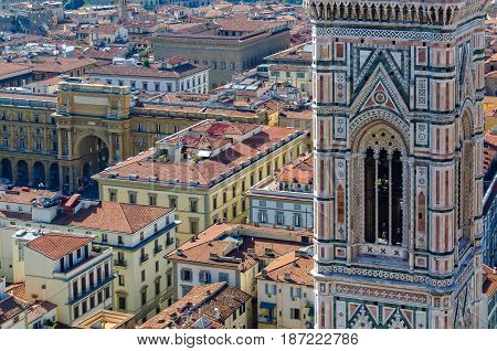 The Bell Tower (Campanile) and the Republic Square (Piazza della Repubblica) from the viewing platform on the dome of the Cathedral (Duomo) - Florence Tuscany Italy