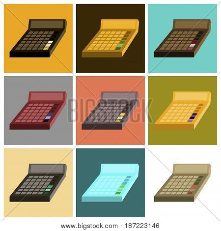 assembly of flat icons economy calculator office