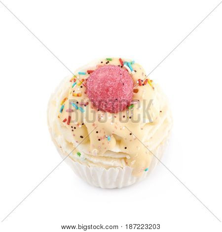 Cupcake shaped bath salt bomb isolated over the white background