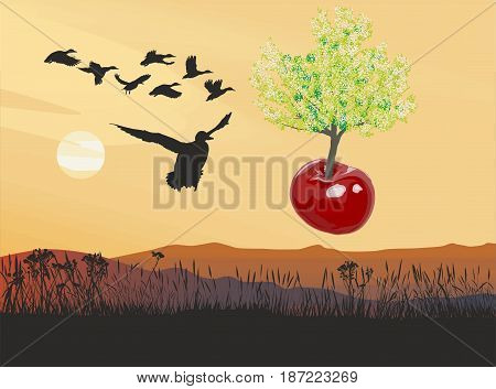 vector illustration of a flying tree growing out of cherries fruit