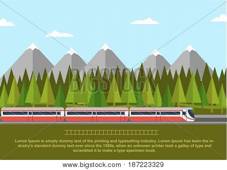 Train on a railway with forest of conifers and mountains. Flat style vector illustration