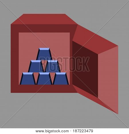flat icon on stylish background Gold bars in a safe