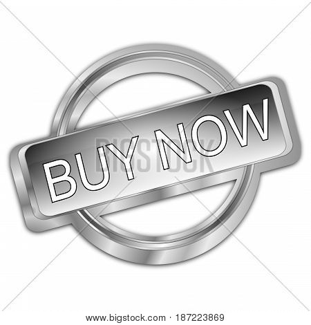 decorative silver Buy now Button - 3d Illustration