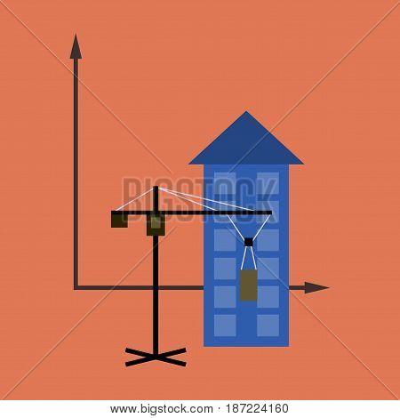 flat icon on stylish background Construction crane and house