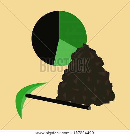 flat icon on stylish background Coal and hammer Infographic