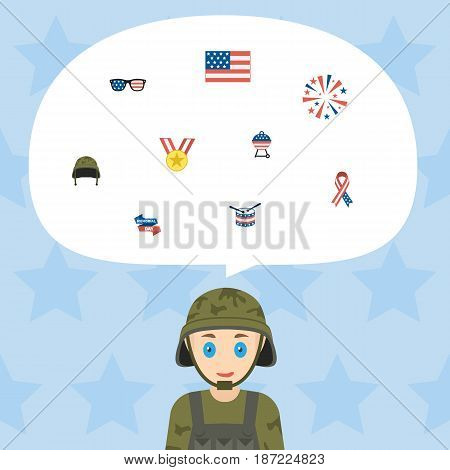Flat Firecracker, Barbecue, American Banner And Other Vector Elements. Set Of History Flat Symbols Also Includes American, Usa, Sparklers Objects.