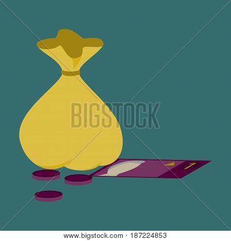 flat icon on stylish background bag with money
