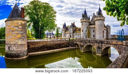 Great castle Sully-sul-Loire. famous Loire valley river in France