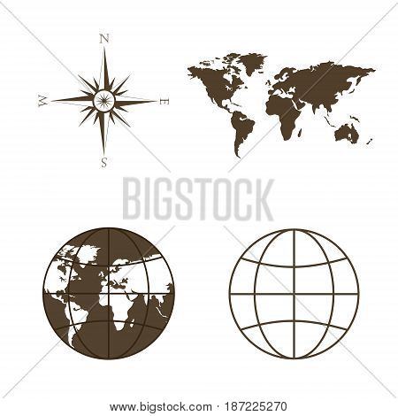 Symbols of global technology, international associations, travel, expeditions and ect. Vector illustration of world map, globe, wind rose, compass. Square location. Image in brown tones.