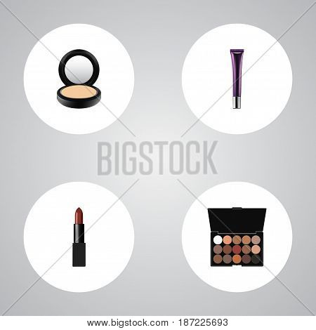 Realistic Multicolored Palette, Pomade, Day Creme And Other Vector Elements. Set Of Greasepaint Realistic Symbols Also Includes Creme, Multicolored, Eyeshadow Objects.