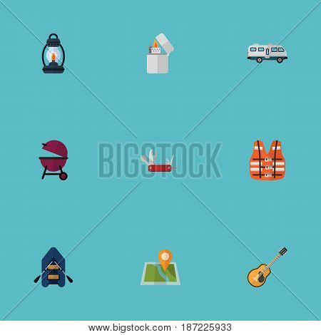 Flat Barbecue, Penknife, Ship And Other Vector Elements. Set Of Camp Flat Symbols Also Includes Strings, Appetizer, Caravan Objects.