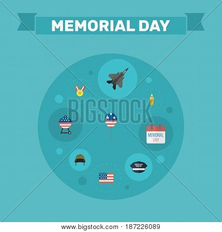 Flat History, Barbecue, Medallion And Other Vector Elements. Set Of Memorial Flat Symbols Also Includes Fighter, Soldier, Wax Objects.