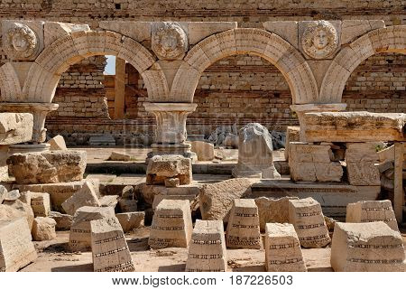 Libya Murqub District Khoms Severan Forum Tripoli Leptis Magna Roman archaeological site Unesco World Heritage Site