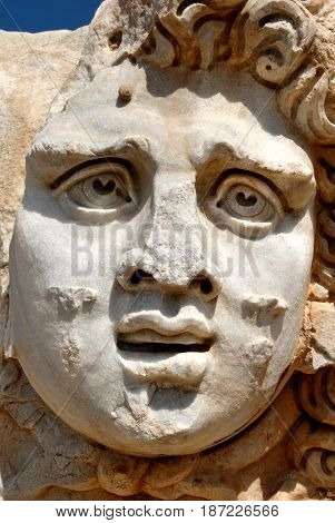 Libya Tripoli Leptis Magna Murqub District Khoms Severan Forum Close-up of Medusa Roman archaeological site Unesco World Heritage Site
