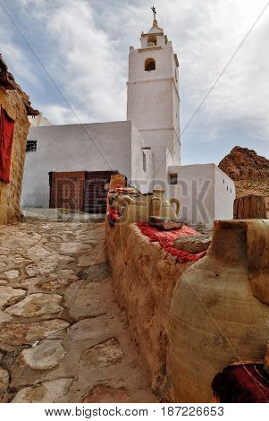 Berber Village Mosque View Chenini Ksour Tunisia