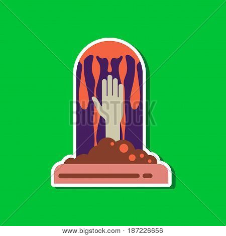 paper sticker on stylish background of halloween grave