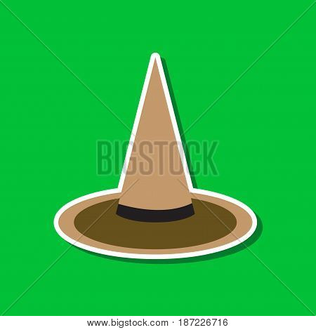 paper sticker on stylish background of halloween witch hat