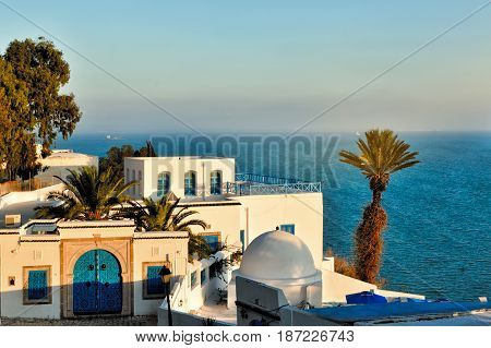 Sunset view of Sidi Bou Said Africa North Africa Tunisia Sidi Bou Said