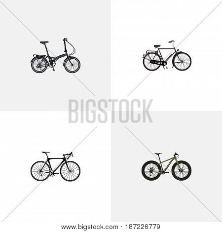 Realistic Bmx, Folding Sport-Cycle, Exercise Riding And Other Vector Elements. Set Of Bicycle Realistic Symbols Also Includes Road, Velocipede, Bike Objects.