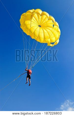 Skydiver on yellow parachute in sunny blue sky. Active lifestyle. Extreme sport.
