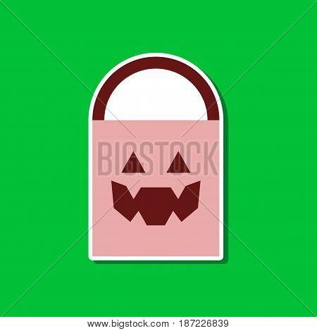 paper sticker on stylish background of halloween bag