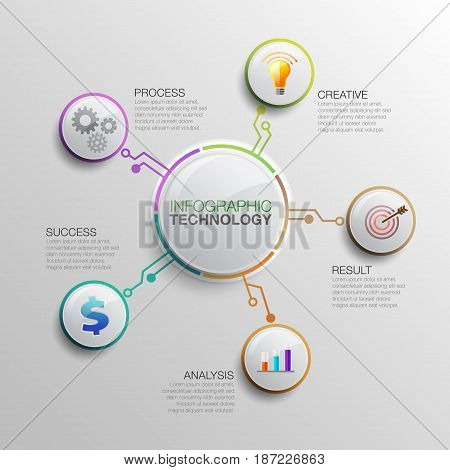 Business data infographics. Process chart TechnBusiness data infographic. Process chart Technology. Abstract elements of graph, diagram with 5 steps, options, parts or processes. Vector business template for presentation.