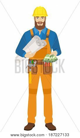 Worker holding the project plans and showing cash money. Full length portrait of worker character in a flat style. Vector illustration.