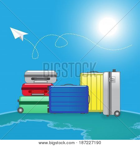 Stack of luggage with paper plane in sunny day and fade earth on background