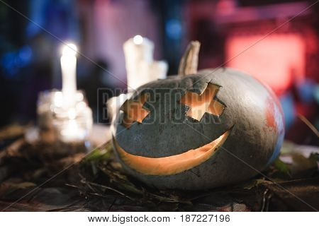 Decoration for the celebration of Halloween with pumpkin
