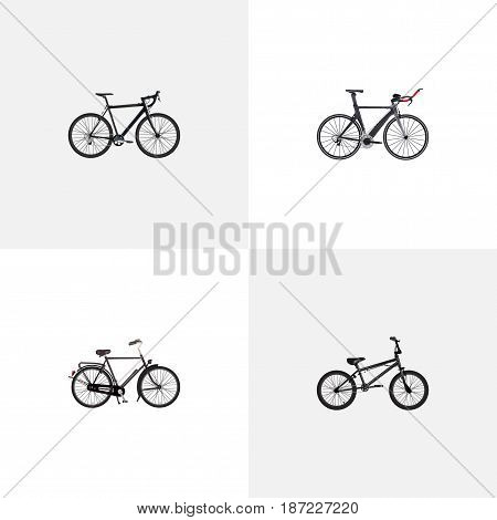 Realistic Extreme Biking, Cyclocross Drive, Training Vehicle And Other Vector Elements. Set Of Bicycle Realistic Symbols Also Includes Triathlon, Cyclocross, Extreme Objects.