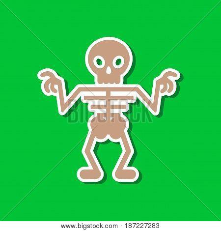 paper sticker on stylish background of halloween skeleton