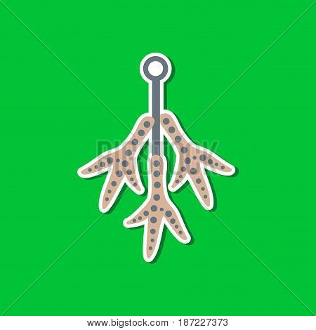 paper sticker on stylish background of halloween chicken feet