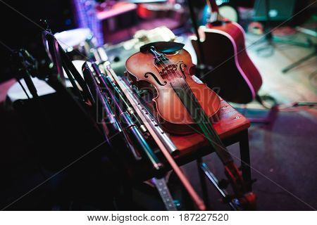 violin, musical instrument on the concert stage