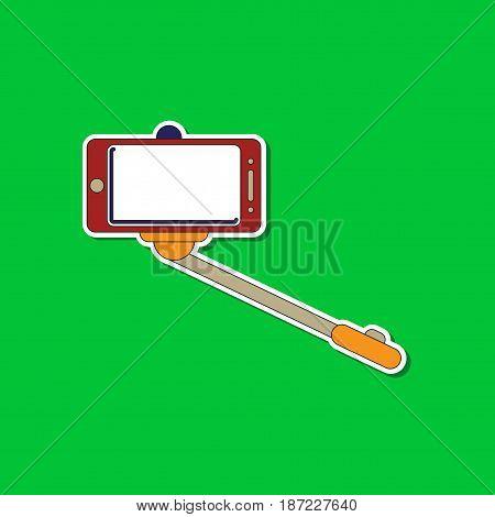 paper sticker on stylish background of Smartphone selfie stick