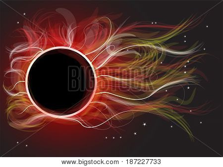 eclipse. Abstract scientific background - full sun eclipse red galaxy in space