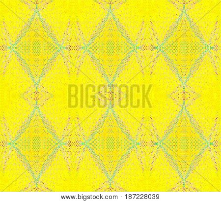 Seamless ellipses and diamond pattern with pink, violet and turquoise blue elements on lemon yellow.