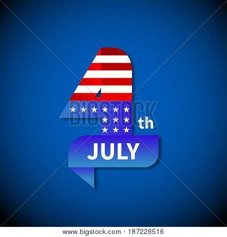 4th of July, US Independence Day. Ribbon stripes and stars, symbolism of American flag. Vector illustration.