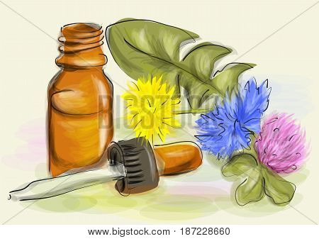 homeopathy. abtsract vector background with flowers fnd bottle