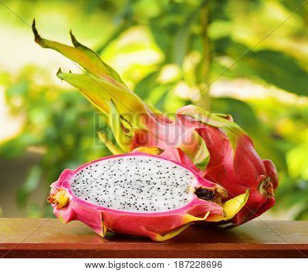 Ripe fresh dragon fruit on nature background.
