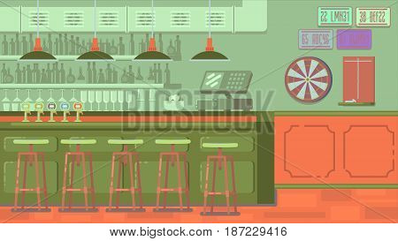 Bar with plenty of drinks and bottles on the shelves