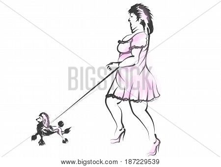 obese woman with dog isolated on white background