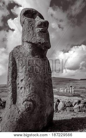 Moai Statue, Ahu Tongariki, Easter Island. Black And White Picture