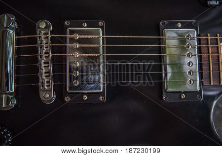 electric guitar Black, musical equipment for music background .