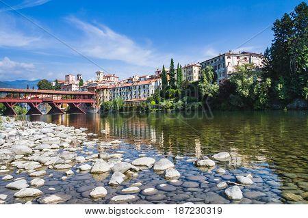 The Ponte Vecchio (or Ponte degli Alpini) bridge, and the Brenta river, in Bassano del Grappa, Veneto, Italy