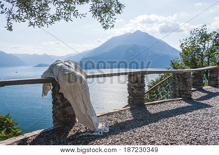 Plaster cast sculpture at Castle Castello di Vezio in Varenna, Lake Como, Lake Como, Italy