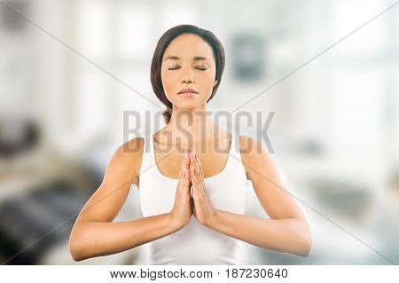 Young African woman in the meditation position