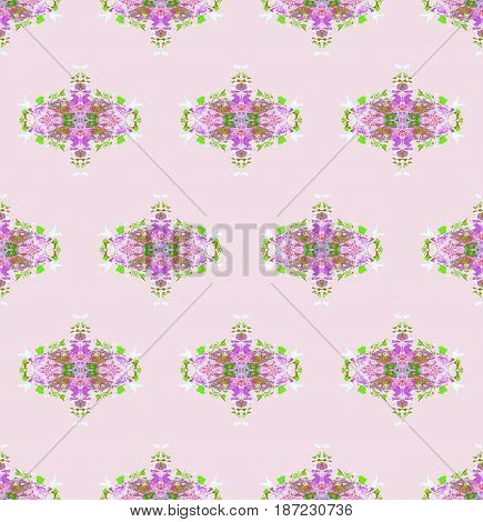 Abstract geometric seamless background. Regular floral pattern violet and green on pink, delicate and dreamy.