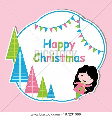 Cute girl and colorful Xmas tree frame vector cartoon, Xmas postcard, wallpaper, and greeting card, T-shirt design for kids